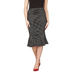 Izabel London - Black polka dot frill trim midi skirt