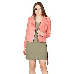 MISSTRUTH - Pink suedette biker jacket