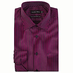 Double Two - Pink satin stripe formal shirt