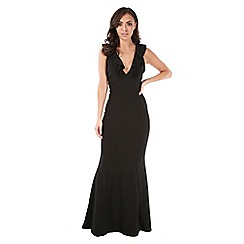 Be Jealous - Black frill v neck maxi dress