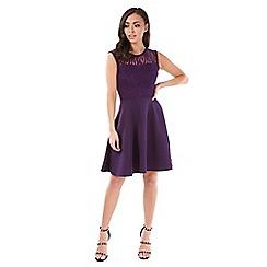 Be Jealous - Purple lace insert skater dress
