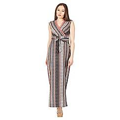 Izabel London - Multicoloured sleeveless tie waist maxi dress