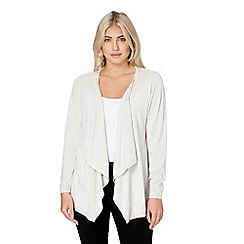 Roman Originals - Light grey waterfall knitted cardigan