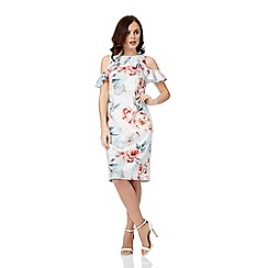 Roman Originals - Light grey floral ruffles scuba dress
