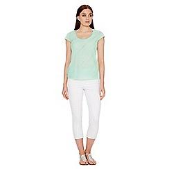 Roman Originals - Light green frill jersey top