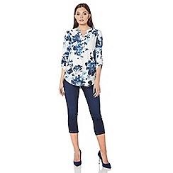 Roman Originals - Blue floral jacquard shirt