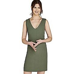 Apricot - Khaki v-neck shift dress