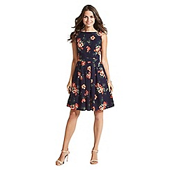 Apricot - Navy hibiscus print skater dress