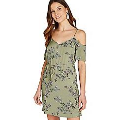 Apricot - Khaki floral print cold shoulder dress