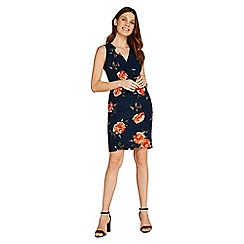 Apricot - Orange floral print crossover dress