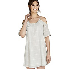 Apricot - Light grey check print cold shoulder dress