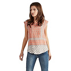 Apricot - Orange patchwork tile print top