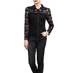 Jolie Moi - Black long sleeve lace shirt