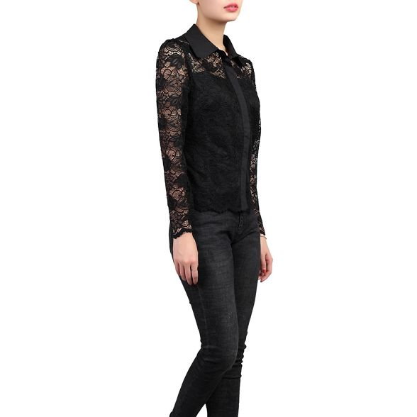 lace Black sleeve long shirt Jolie Moi 5IqOwHWxU