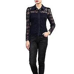 Jolie Moi - Navy long sleeve lace shirt