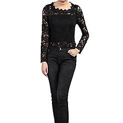 Jolie Moi - Black scalloped lace top