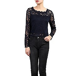 Jolie Moi - Navy scalloped lace top