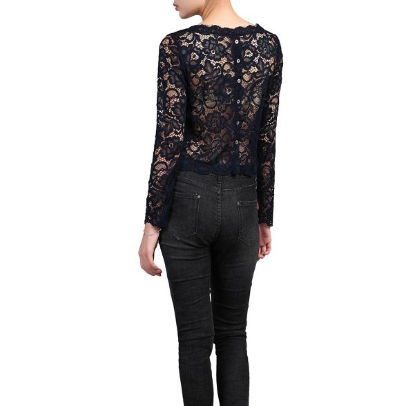 Jolie Navy Moi lace top scalloped 6r5Sq67xHw