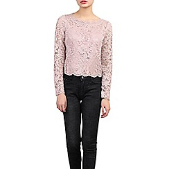 Jolie Moi - Light pink scalloped lace top