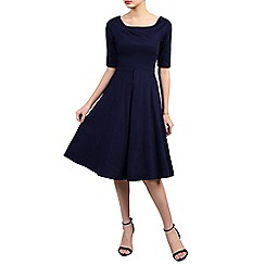Jolie Moi - Navy half sleeve retro swing dress