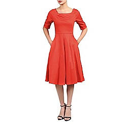 Jolie Moi - Red half sleeve retro swing dress