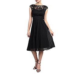 Jolie Moi - Black lace bodice pleated dress