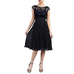 Jolie Moi - Navy lace bodice pleated dress