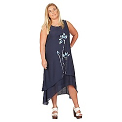 IZABEL LONDON CURVE - Navy plus size floral embroidered swing dress