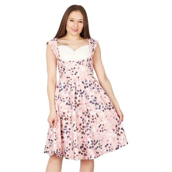 bust crossover print floral Jolie swing dress Pink Moi IqwIHX