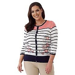 Lavitta - Turquoise stripe and plain knit cardigan