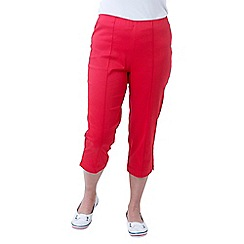 Lavitta - Red solid cotton sateen comfort crop trousers