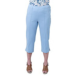 Lavitta - Blue solid cotton sateen comfort crop trousers