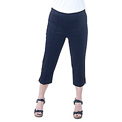Lavitta - Black solid cotton sateen comfort crop trousers
