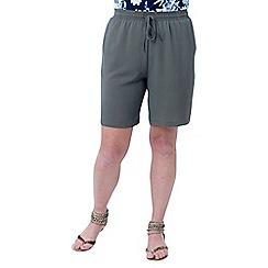 Lavitta - Khaki plain bubble crepe shorts