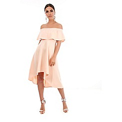Be Jealous - Natural off shoulder high low dress