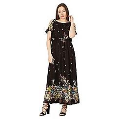 Izabel London - Black cold shoulder printed maxi dress