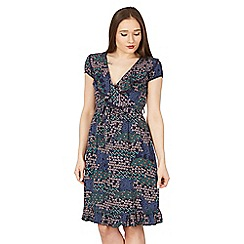 Izabel London - Navy ditzy floral wrap dress