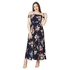 Izabel London - Navy floral print maxi bardot dress