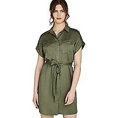 Apricot - Khaki utility button down shirt dress