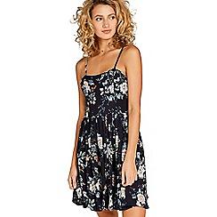 Apricot - Navy  floral print babydoll dress