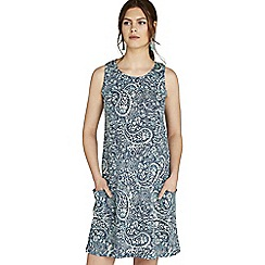 Apricot - Navy paisley print slub tunic dress