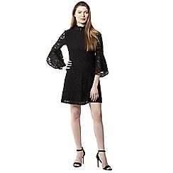 Izabel London - Black ruffle and frill sleeves lace dress