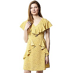 Izabel London - Yellow dot dash frill dress