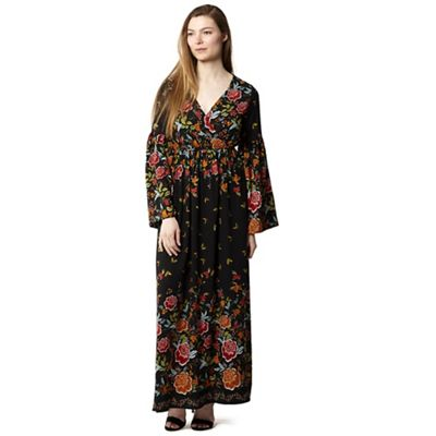 Izabel London   Black Wrap Front Large Sleeves Maxi Dress by Izabel London