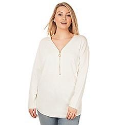 Arrae - Cream zip front tunic jumper