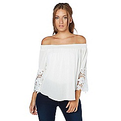 Roman Originals - Ivory lace detail bardot top