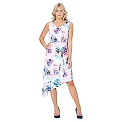 Roman Originals - Ivory floral print asymmetric dress