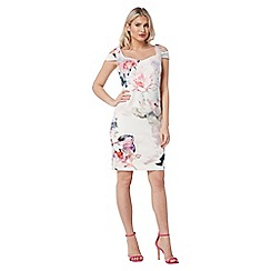 Roman Originals - Ivory floral cold shoulder dress