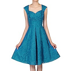 Jolie Moi - Dark turquoise crossover bust lace prom dress