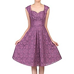 Jolie Moi - Dark purple crossover bust lace prom dress